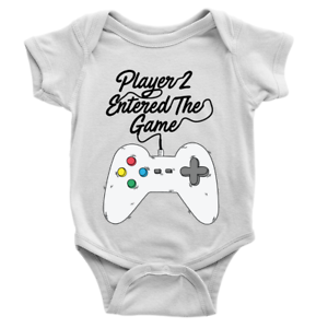 Player 2 Entered The Game Babygrow Video Gaming 2nd Baby Son Gift Present