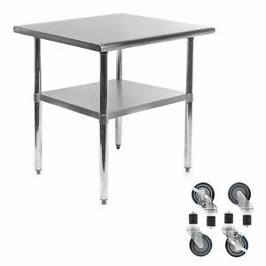 Details about mesa de trabajo ruedas estante hotel cocina restaurante 30x24  acero inoxidable