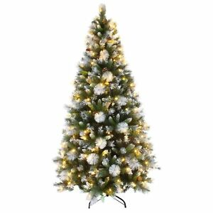 7 Ft Christmas Tree Prelit.Details About Luxury Pre Lit Decorated Artificial Christmas Tree Led Frosted Tips 6ft 7ft