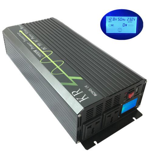 2000W Pure Sine Wave Power Inverter Peak 4000W 12V//24V//48V to 120V//220V LCD USB