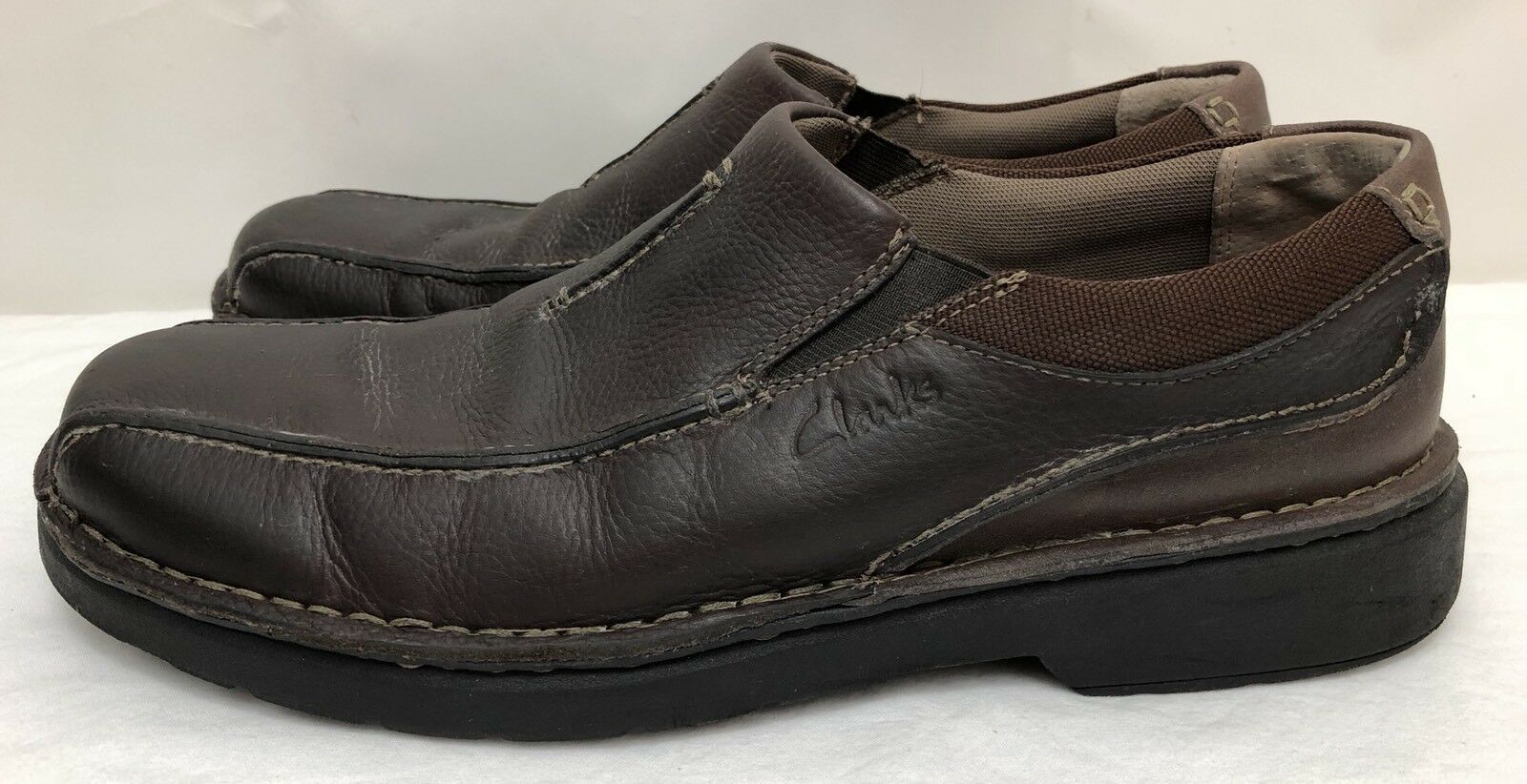 Mens CLARKS Shoes 86231 0609 Brown Leather Loafers Shoes CLARKS SIZE 13 M 6cd86c