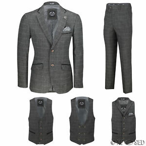 Nuevo-Para-Hombre-Traje-de-3-piezas-de-verificacion-en-gris-se-vende-por-separado-Chaqueta