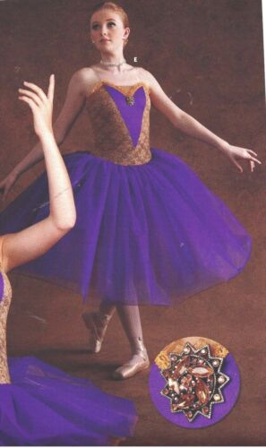 child sizes Lace Bodice NEW BALLET COSTUME Long tutu Purple Brooch incld