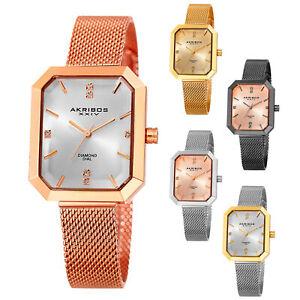 Women-039-s-Akribos-XXIV-AK909-Quartz-Diamond-Dial-Stainless-Steel-Mesh-Watch