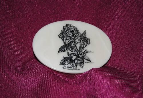 Rose Etched Cultured Marble Western Belt Buckle