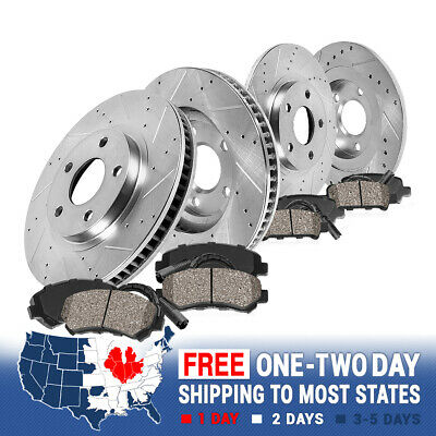 525iT 530i Front Rear  Drilled Brake Rotors+Ceramic Pads 535i Fit BMW 525i