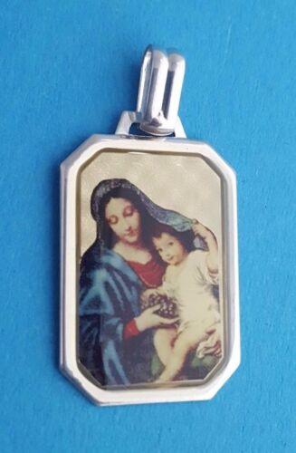 Maria Gottesmutter mit Jesus 925 Silber Ketten-Anhänger Capochon 8 Eckig NEU