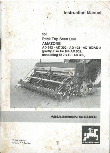 Amazone Sembradora de AD252 AD302 AD402 AD452 AD-2 Manual del operador