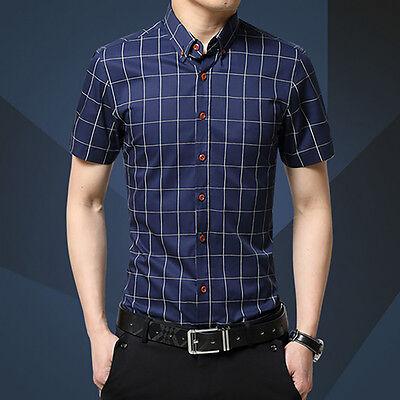 Mens Luxury Cotton Short Sleeve Shirt Casual Grid Slim Fit Stylish Dress Shirts