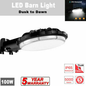 100W LED Barn Light Dusk to Dawn Lamp Outdoor Yard Street Flood Light Waterproof