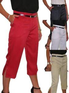 Ladies-Smart-Crop-Capri-Trousers-Matt-Satin-Evening-Easy-Fit-With-Belt-NEW-8-22