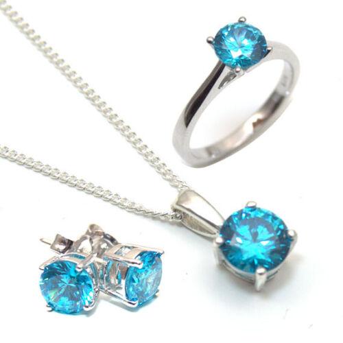 Diamond-Unique Blue Topaz 2ct Solitaire Solid Gold 9ct Stud Earrings