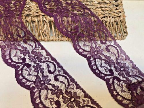 """Nottingham 6cm//2.25/"""" prune plat bordure en dentelle Gratuit 1ST Classe * Sewing//Craft"""