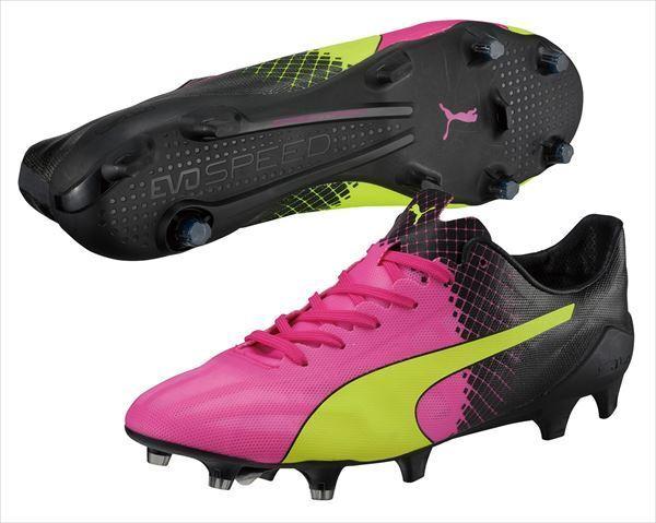 New mens soccer 8.5 puma evospeed SL 2/II FG tricks soccer mens cleats pink/yellow 103662-01 860a30