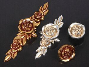 Antique Silver Gold Brass Rose Flower Drawer Knobs Cabinet