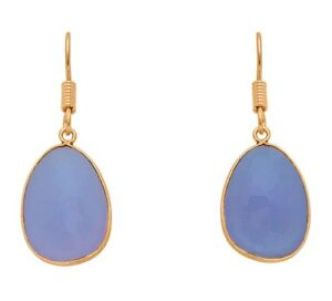 Brand-New-Blue-Chalcedony-Multifaceted-Stone18K-Gold-Plated-Drop-Earrings