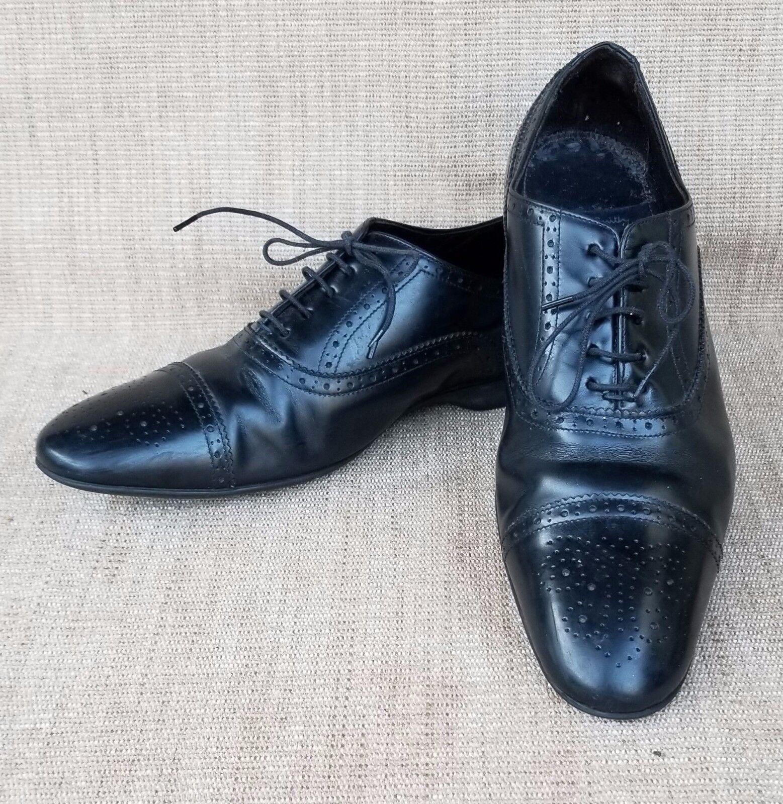 confortevole Uptown PS  PAUL SMITH Cap Toe nero nero nero Leather Lace Up Rubber Sole scarpe SZ 42   Negozio 2018