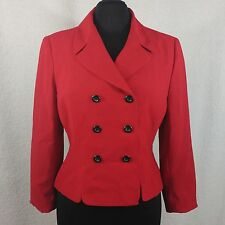 Le Suit Red Blazer Suit - Size 10 Petite - Double Breasted Fully Lined