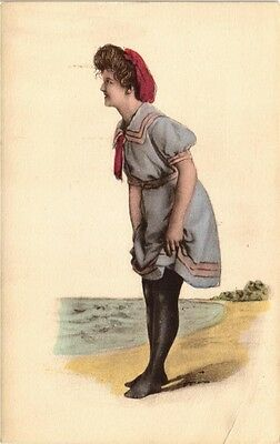 DR JIM STAMPS US GIRL AT BEACH HAND COLORED BATHING COSTUME POSTCARD