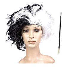 Adult Black & White Evil Dalmatian Dog Woman Fancy Dress Wig / Cigarette Holder