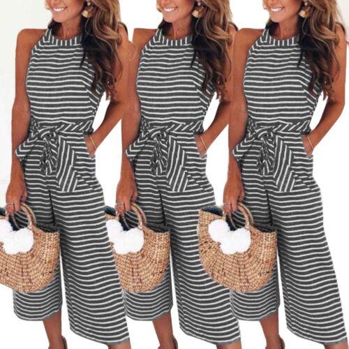 Women Striped Jumpsuits O-neck Sleeveless Waist Belted Wide Leg Loose Jumpsuit