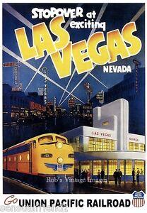 Details about Union Pacific Las Vegas Poster 1950s-60s Travel Train  Railroad Nevada