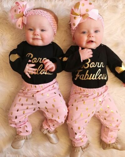 Toddler Kids Baby Girls Fox Outfits T-Shirt Top Dress Striped Pants Clothes Set