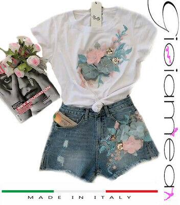 Maglia + Shorts Completo Donna Denim Sexy Particolare Fiori Pantaloncino T-shirt Saldi Di Fine Anno