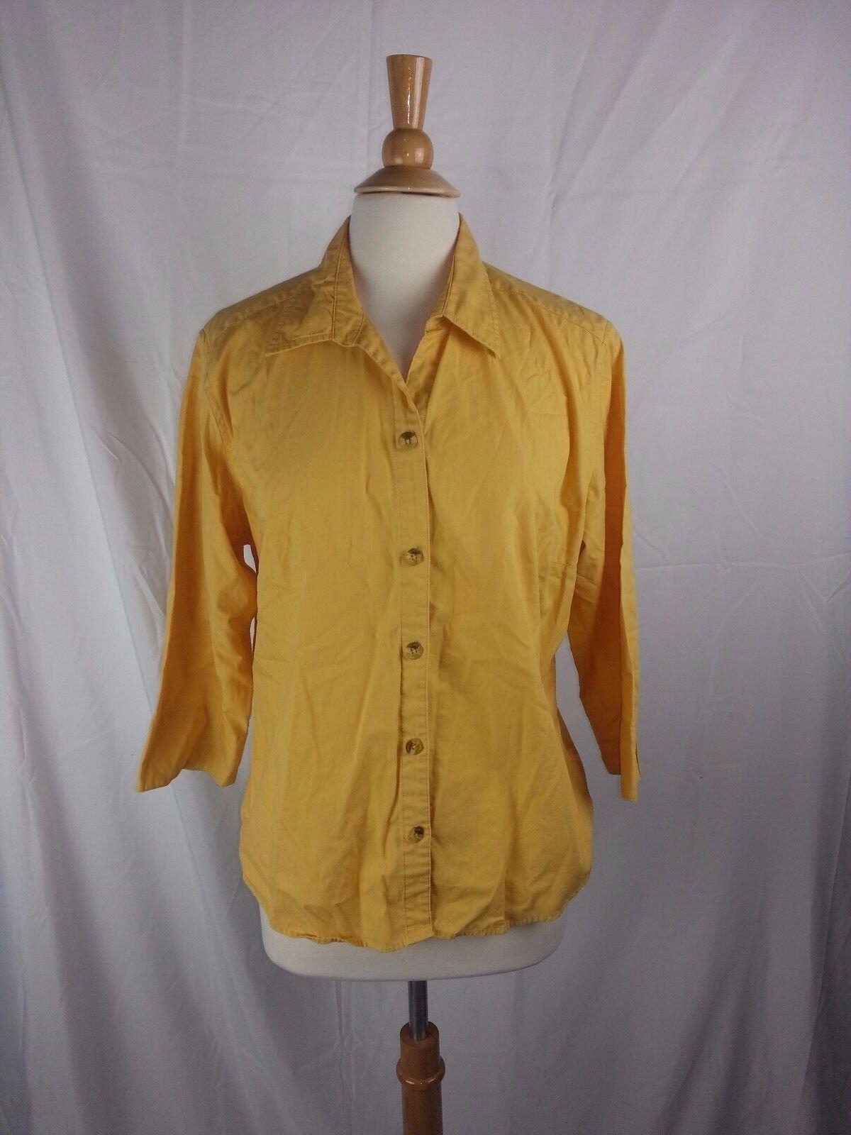 Women's Columbia Sportswear 3 4 Sleeve Button Front Yellow Shirt Top Size XL