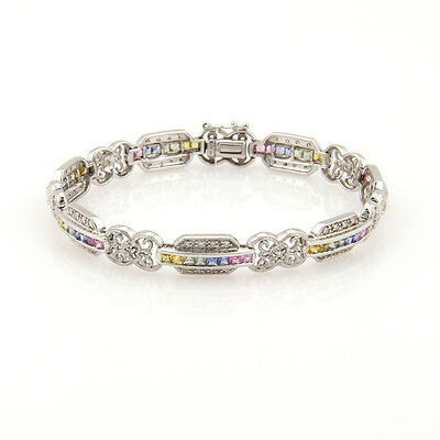 Estate 14K White Gold Diamond & Rainbow Sapphire Link Bracelet