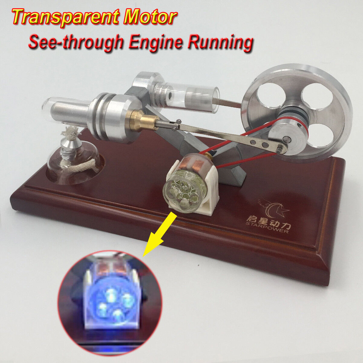Hot Air Stirling Engine Model Mini Electricity Power Generator Motor Toy w  LED