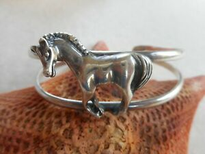 Vintage Sterling Silver Mexico Horse Cuff Bracelet   3348C
