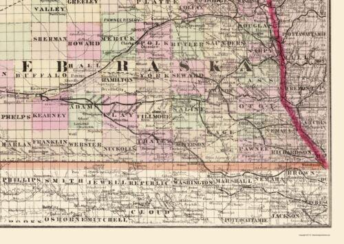 Nebraska Railroad Townships Cram 1875-23.00 x 32.39
