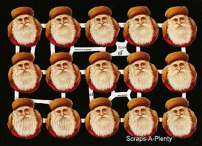 German Embossed Vintage Style Scrap Die Cut-Lrg Christmas Santa Children BK5123