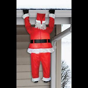 funny santa christmas yard decorations from wood | Inflatable Airblown--FUNNY ROOF HANGING SANTA--Christmas ...