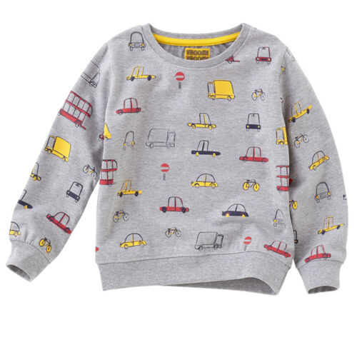 Boys Vroom Trucks Cars Buses Printed Sweatshirt Novelty Character Printed Grey