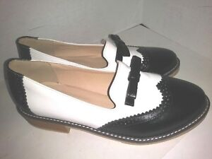 Dahongma-Fashion-Black-White-Loafers-Bow-Tie-Wingtip-Womens-Size-42