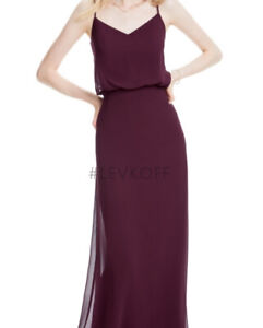 Bill Levkoff Women's Maroon Purple Layered Scoop Neck Maxi Bridesmaid Dress, 4