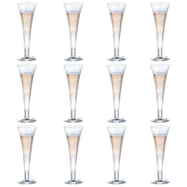 0777eb972ad 12x Champagne Glasses Modern Glass Flutes Prosecco Sparkling Wine Stemless  160ml