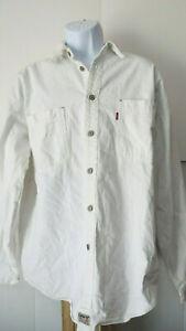 Vtg-Distressed-White-RED-TAB-LEVI-LEVI-039-S-STRAUSS-DENIM-Silver-Button-Shirt-Men-039-s