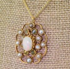ART DECO OPAL, GREY PEARL & CAT'S EYE PENDANT - 18k Yellow Gold - c 1930