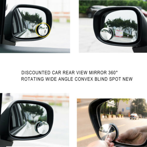 Car Rearview Blind Spot Side Rear View Mirror Convex Wide Angle Adjustable 360°