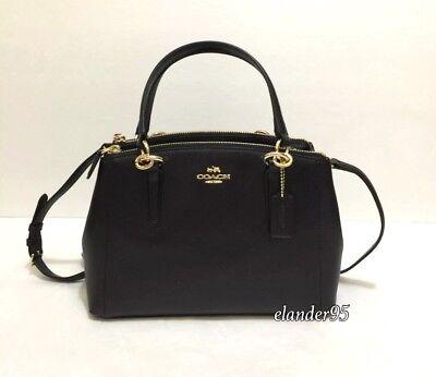 760036df COACH F36704 Mini Christie Crossgrain Leather Carryall Satchel Bag - Black