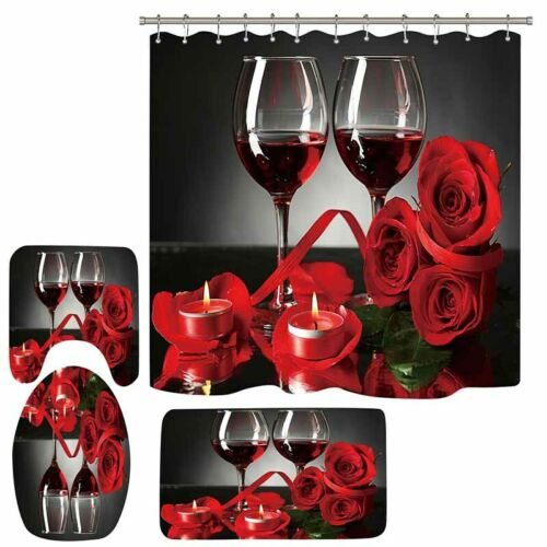 Bathroom Waterproof Shower Curtain Toilet Lid Cover Bath Mat Set Wine Rose Print