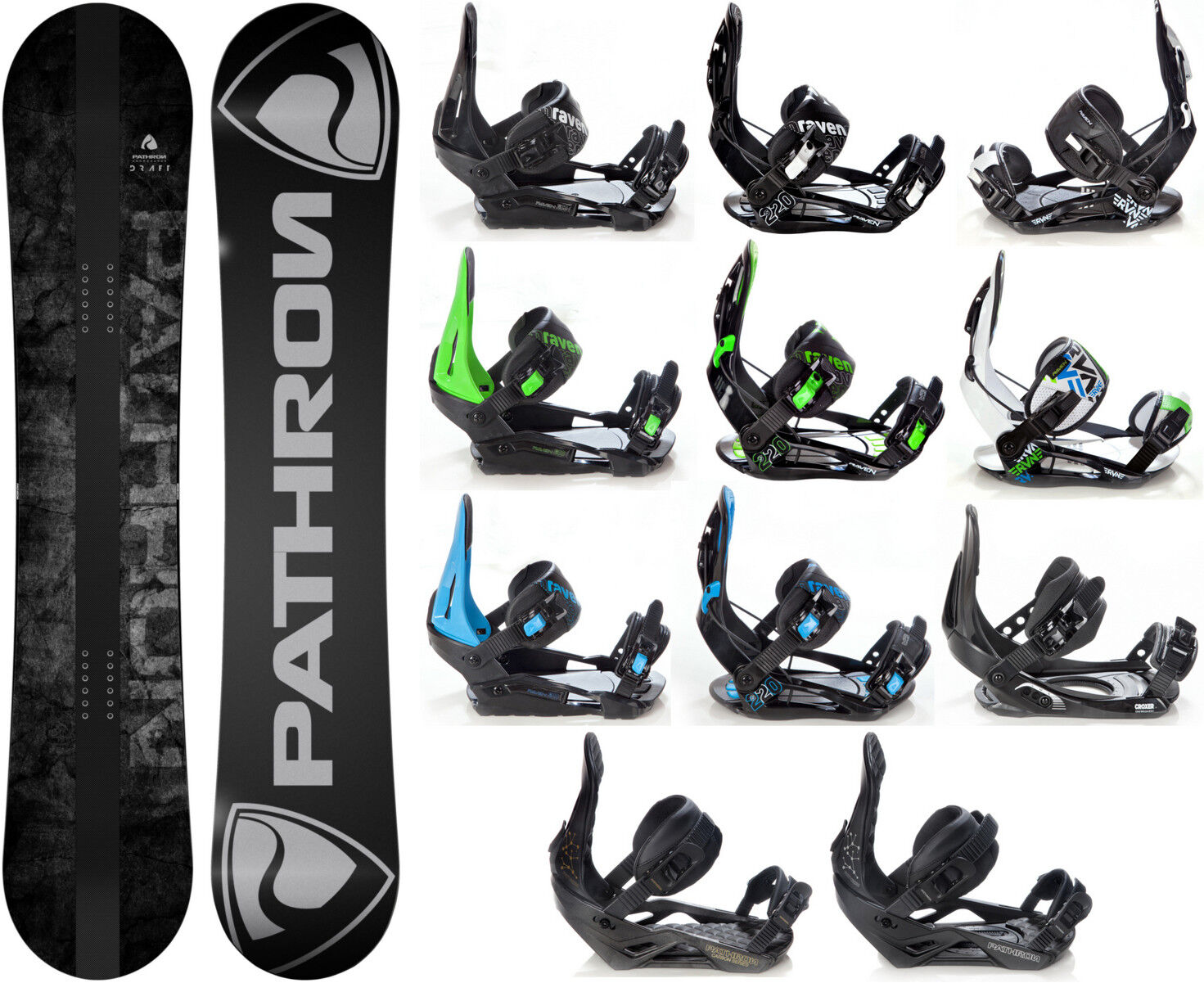 Snowboard Pathron Draft Grey Carbon + Bindings Raven S, M, M L, L or XL- New