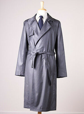 NWT $1495 EMPORIO ARMANI Lightweight Wool Trench Coat Slim 52/42 Charcoal Gray