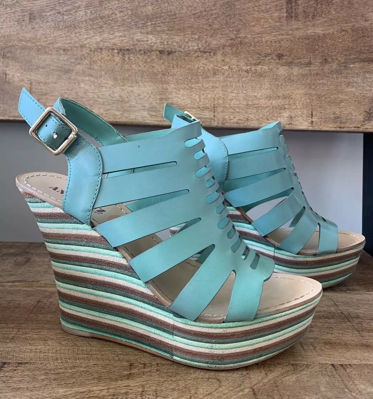 Anna Luz Teal Blau Grün Leather Open Toe Wedge Sandals Handmade Brazil US 7