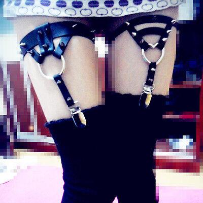 Punk Rock Emo Handmade Heart Ring Stud Rivet Triangle Clip Leg Garter Belt Ring