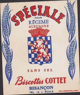BUVARD ANCIEN PUBLICITAIRE BISCOTTES COTTET-BESANCON-SPECIALE REGIME//ALBUMINE