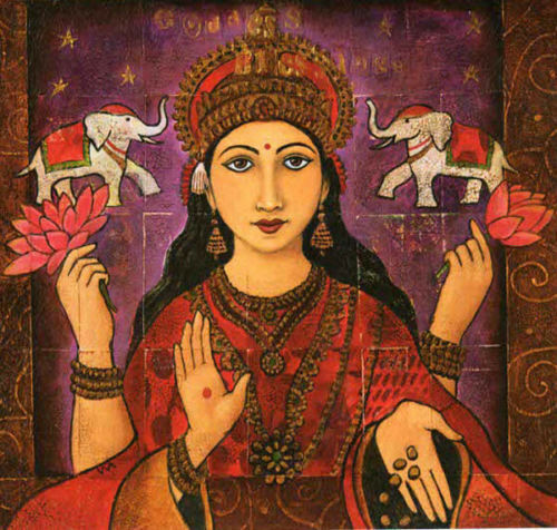 PAGAN WICCAN GREETING CARDS Lakshmi GODDESS HINDU Elephant WENDY ANDREW